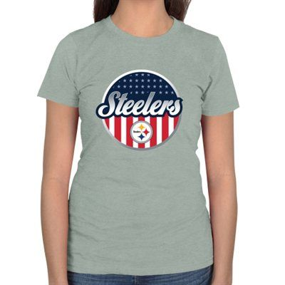 Pro Line Pittsburgh Steelers Womens Americana Slim Fit T-Shirt - Ash