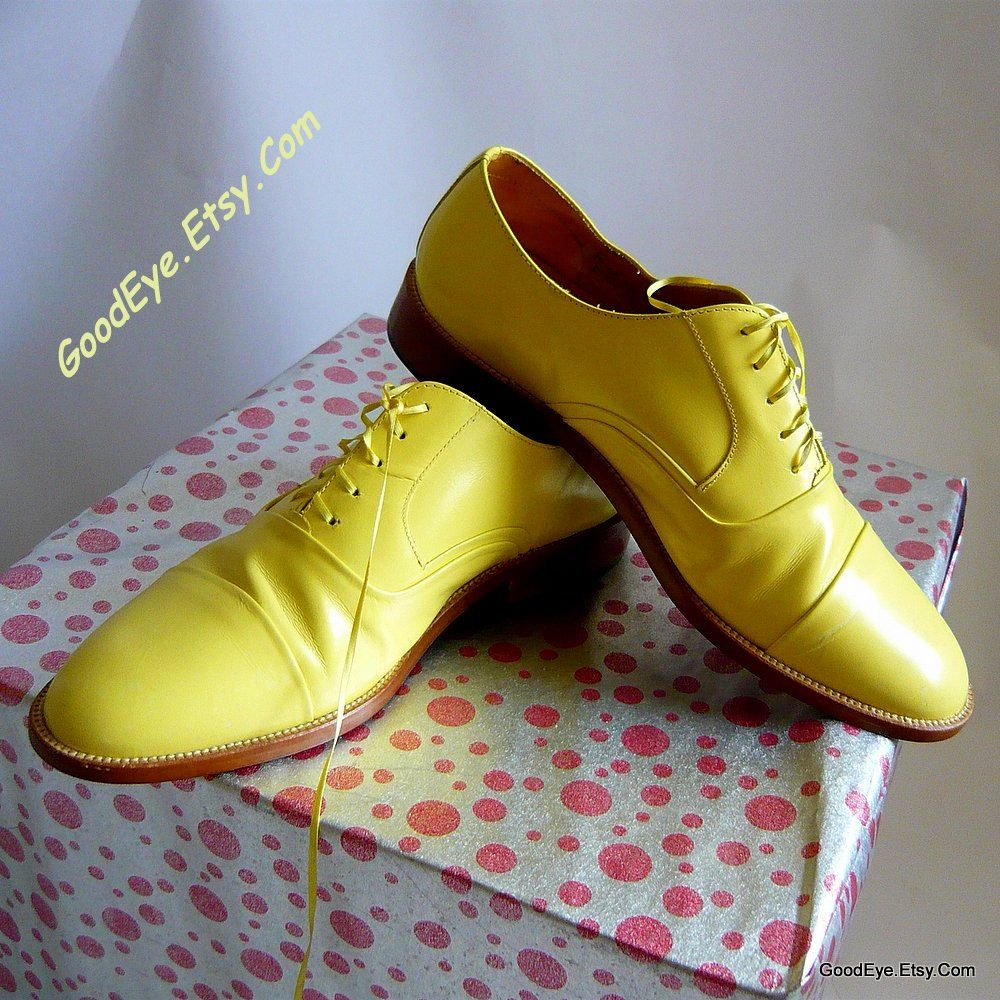 1d674fba159a9 Fab YELLOW Leather Oxford Shoes Mens size 9 .5 D Eu 42.5 UK 9 ...