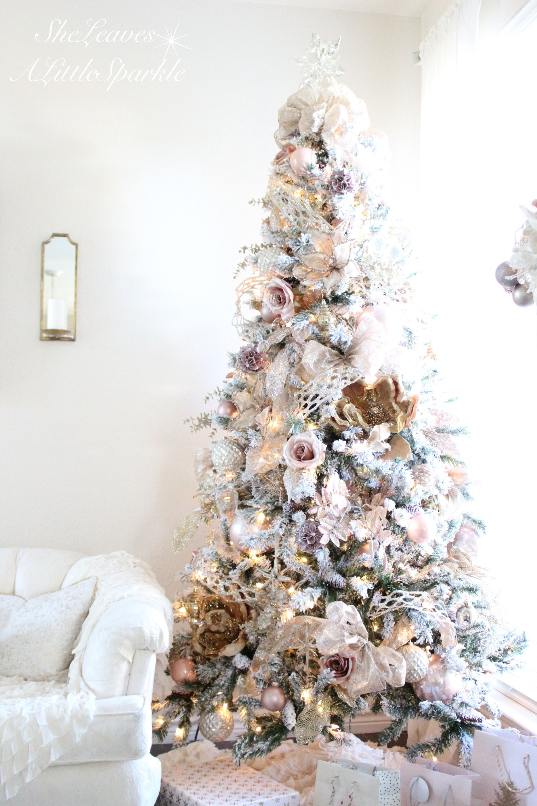 Holiday Living Room Tour Blush Gold Flocked Christmas Tree Wring Paper Pink
