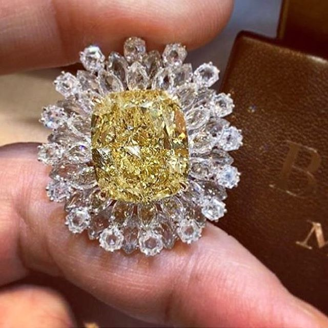 Yellow and white diamond ring by Busatti
