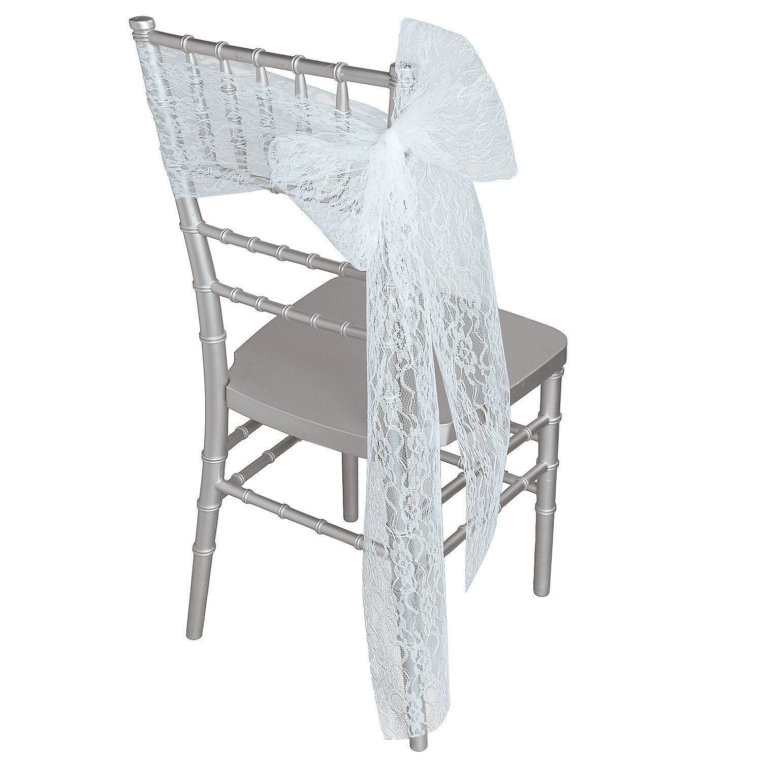 White Lace Ribbon Chair Cover | Lace ribbon, Chair covers and White lace