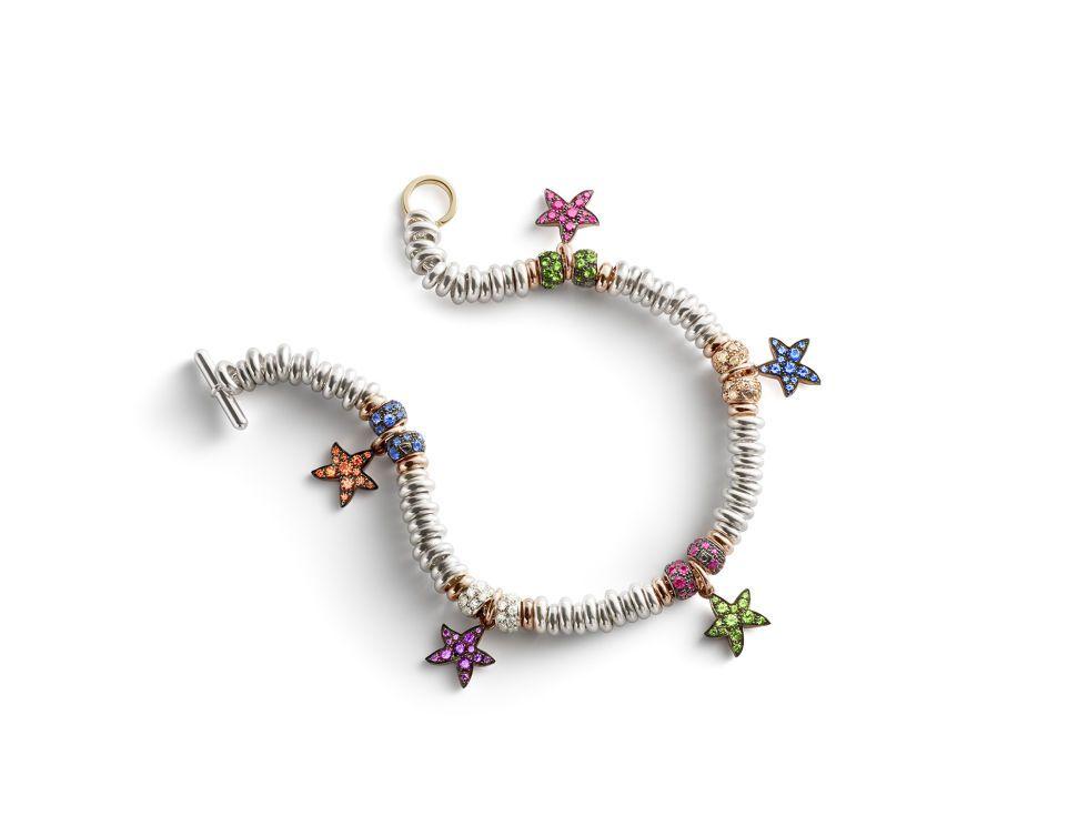 Bracciale XMas edition con pepite e rondelle in oro bianco, oro rosa e diamanti bianchi, rosa e brown arricchito da charms stelline, Dodo