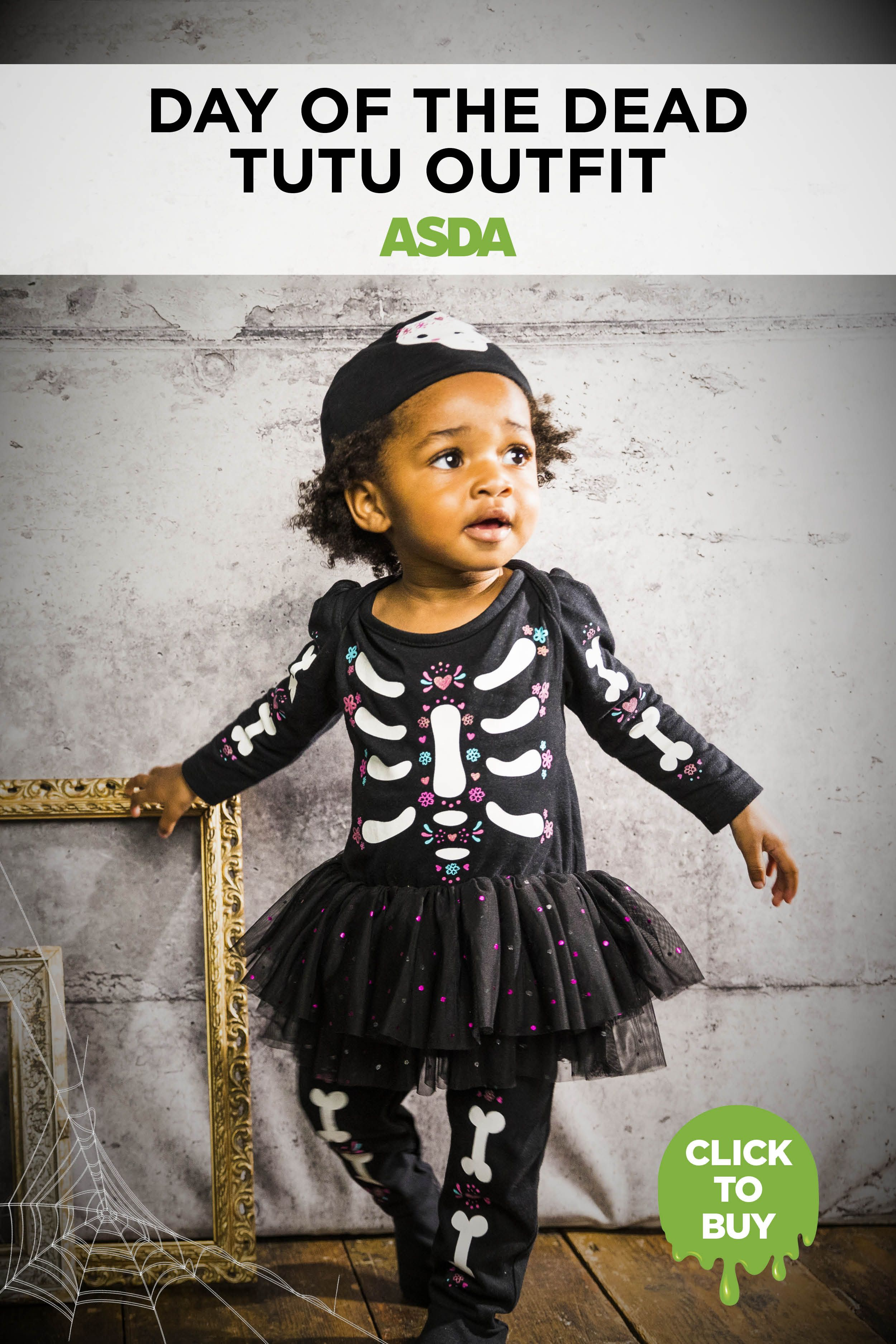 Halloween Day Of The Dead Sleepsuit Tutu And Hat Baby George