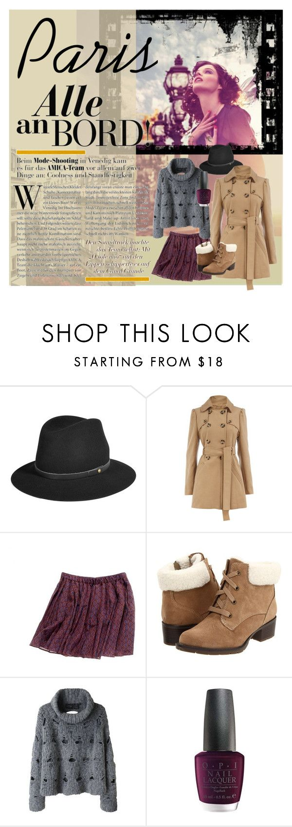 """""""Paris Winter"""" by bunnys1 ❤ liked on Polyvore featuring rag & bone, Dorothy Perkins, Madewell, Sporto, Rachel Comey, OPI, fedora hats, paris, sweater and trench coat"""