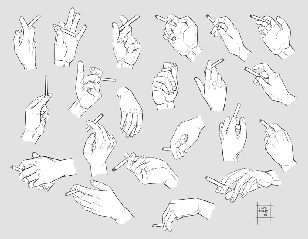 Sketchdump March 2018 [Hands with cigarettes] by DamaiMikaz on DeviantArt