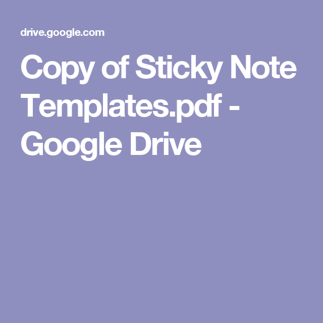 Copy Of Sticky Note TemplatesPdf  Google Drive  Bulletin Board