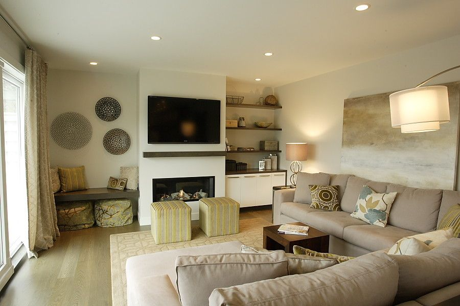 Electric Fireplaces Family Room Contemporary with Area Rug Art