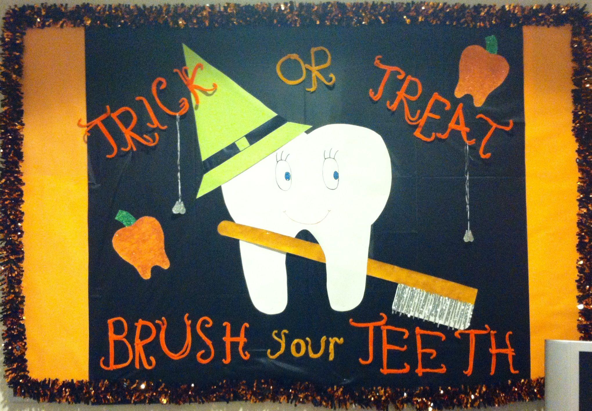 I made this Halloween Dental Hygiene Bulletin Board