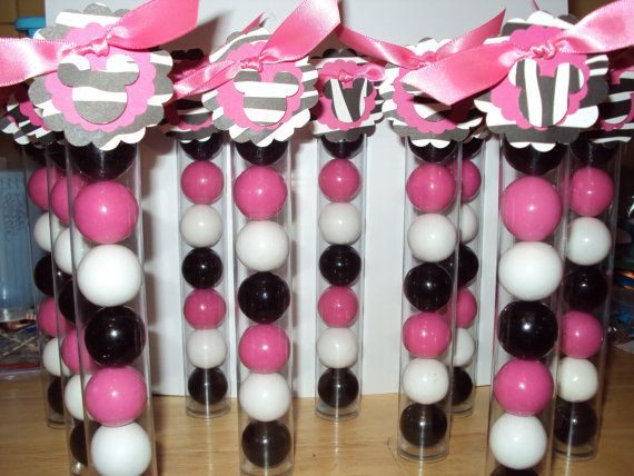 12 Pink and Black Zebra Print Minnie Mouse Gumball Favors Zebra