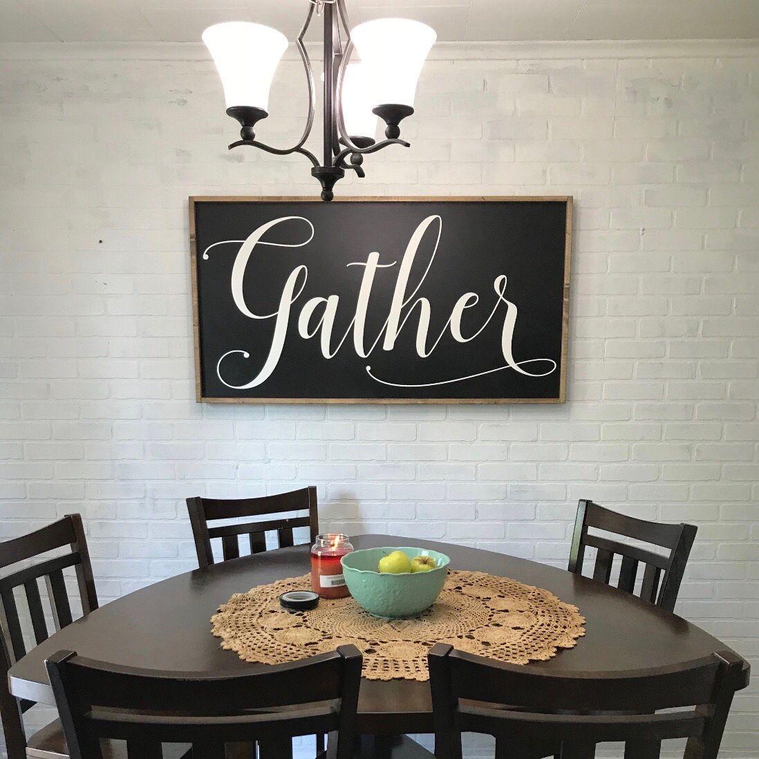 Gather Kitchen Wooden Sign Modern Farmhouse Home Decor Farmhouse