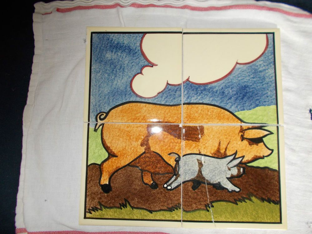 POOLE CARTER ART DECO DESIGN PIG TILES RECLAIMED FROM A LOCAL BUTCHERS SHOP