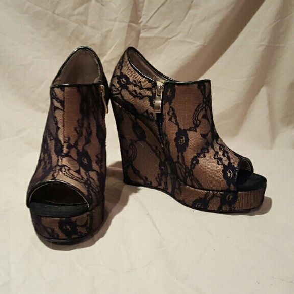 Marco Santi Lace Platform Wedges Hardly worn! Super high platform wedges. Nude with a black lace overlay. Peep toe! Marco Santi Shoes Wedges