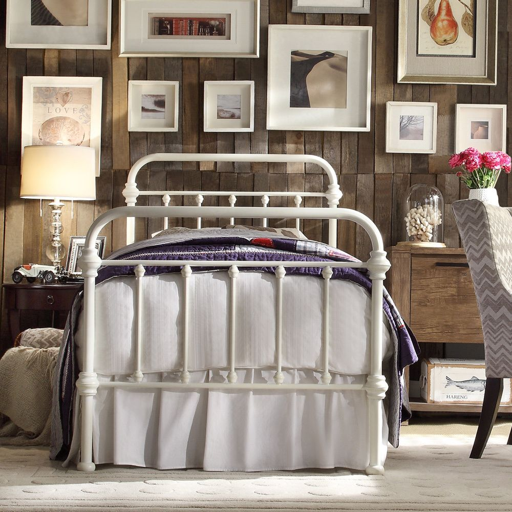 Overstock Bedroom Furniture Giselle Antique White Graceful Lines Victorian Iron Metal Bed By