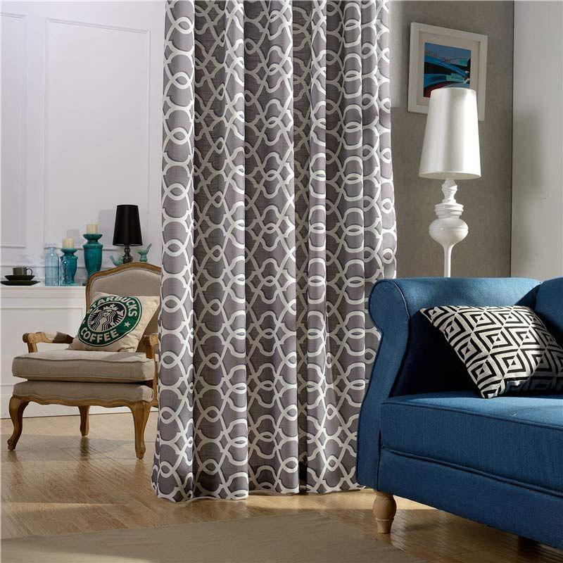 Modern Vorhang Grau Wellen Muster im Wohnzimmer zu
