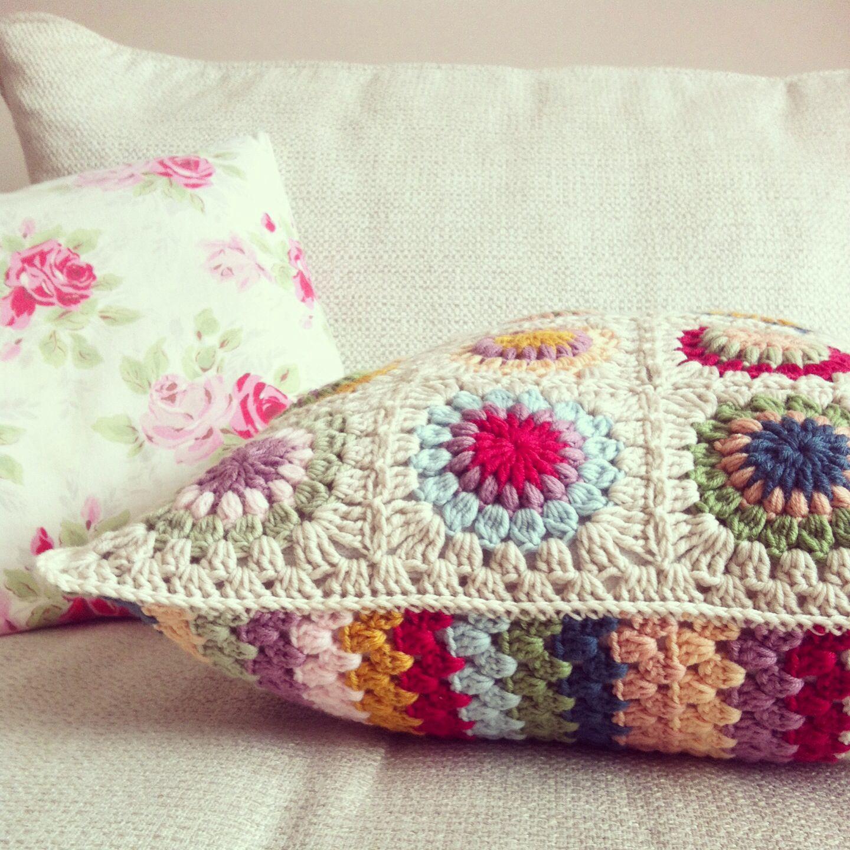 Colourful granny crochet cushion crochet pinterest crochet