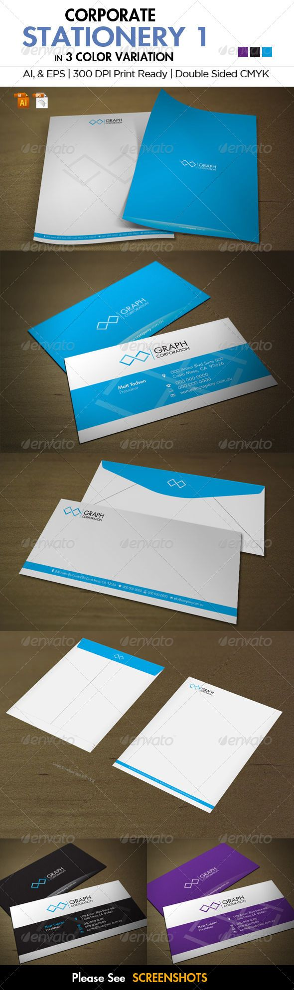 Corporate stationery 1 business cards fonts and print templates reheart Image collections