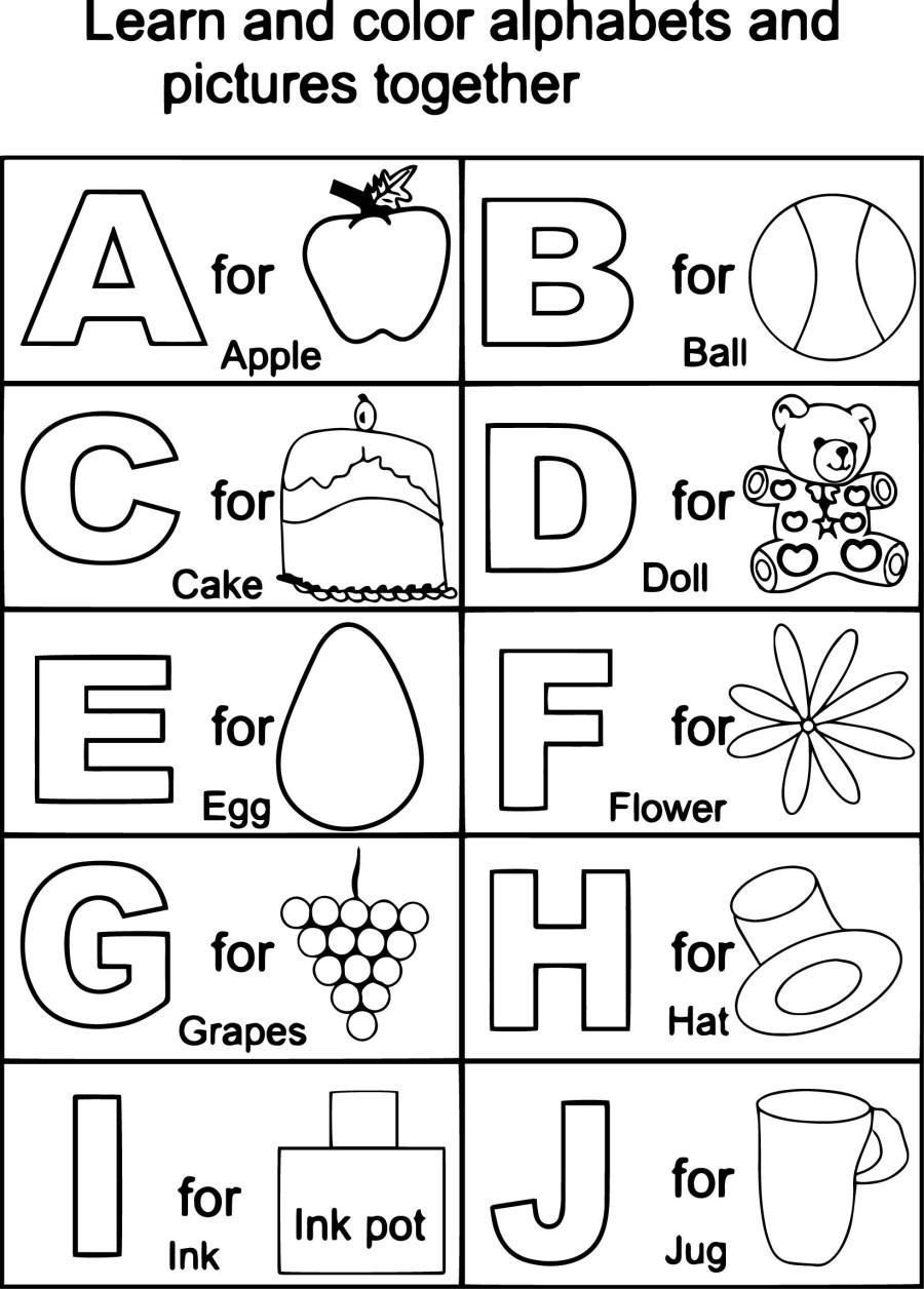 Coloring Sheet Abc Sheets Printable Color For Kindergarten