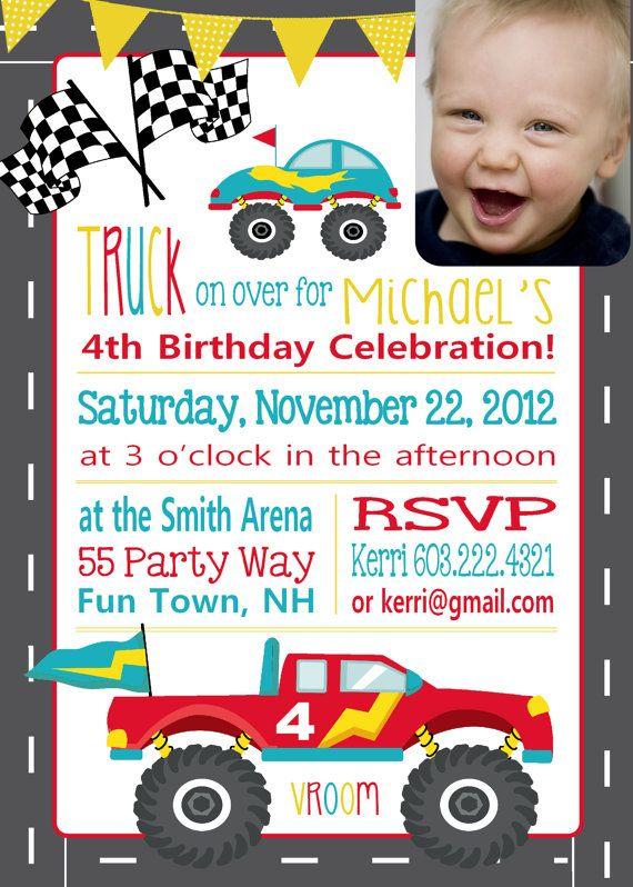 Trucks Birthday Invitation Monster Truck Birthday Party Truck Party