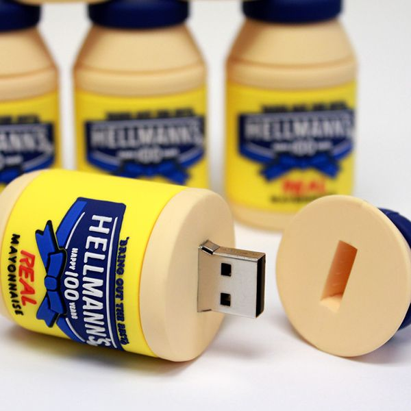 hellmans mayo custom molded and custom shaped and designed USB Flash drives and memory sticks are perfect for  #marketing  #b2b  #logo #adspecialty. Call 888-908-1481 or visit www.PromoCrunch.com