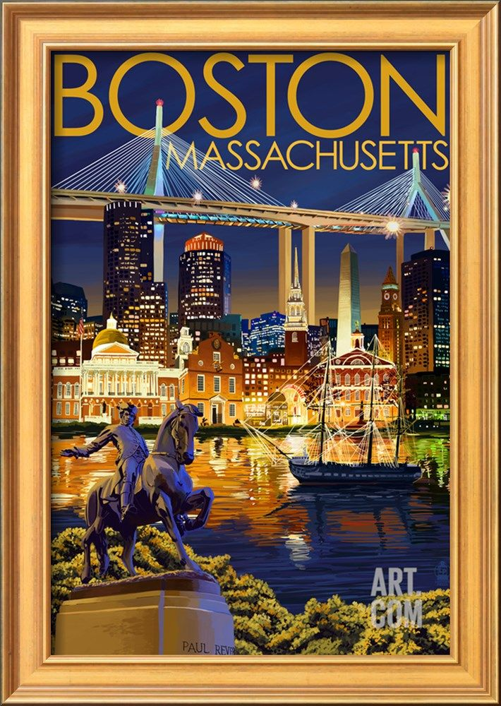 Boston Massachusetts Skyline At Night Art Print Lantern Press Art Com Travel Posters Vintage Travel Posters Travel Art