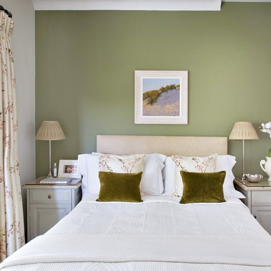 Pretty Bedroom With Olive Green Feature Wall