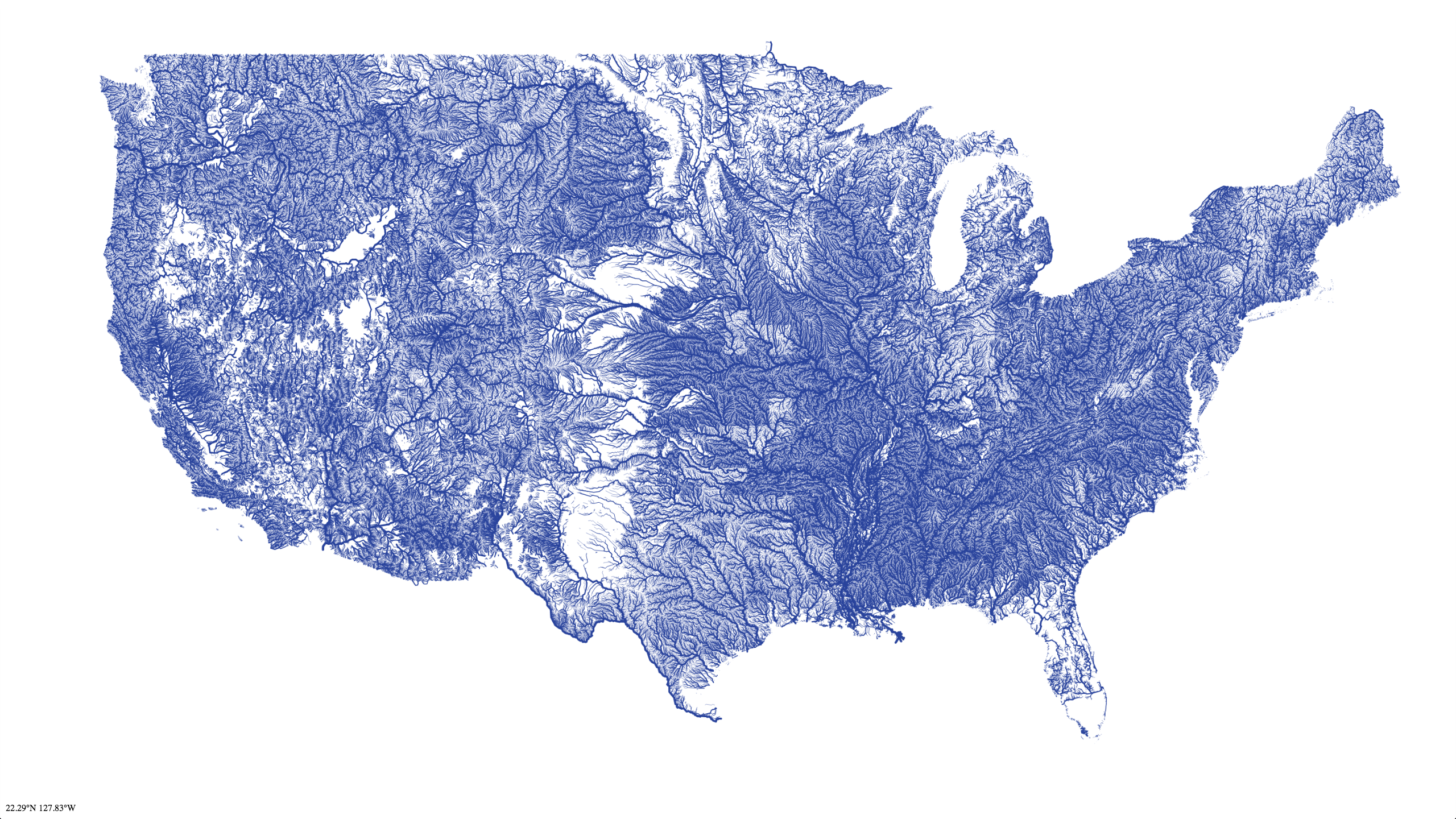 Map of Rivers in the Contiguous United