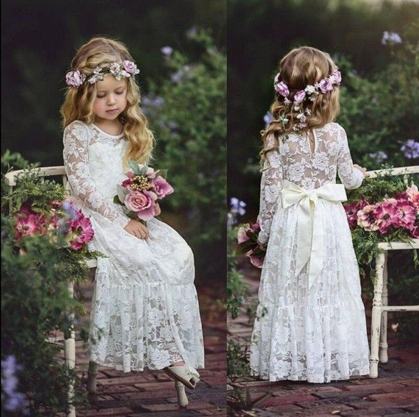 8f394e04dee1 2018 Cute Country Cheap Full Lace Flower Girls Dresses Long Sleeves Ritzee  Girl Pageant Party Gowns Teens Kids Formal Communion Dresses Dresses For  Girls ...