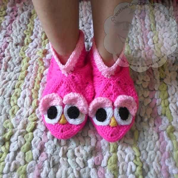 Free Crochet Pattern - Granny Birdie Slippers | Muestras de tejido ...