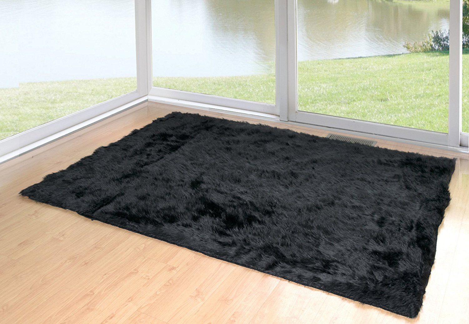 Glamour Home Faux Sheepskin Silky Flokati Fur Shaggy Area Rug 5x7 Black Click Image For More Details Affiliate Link Glamour Home Area Rugs Black Area Rugs