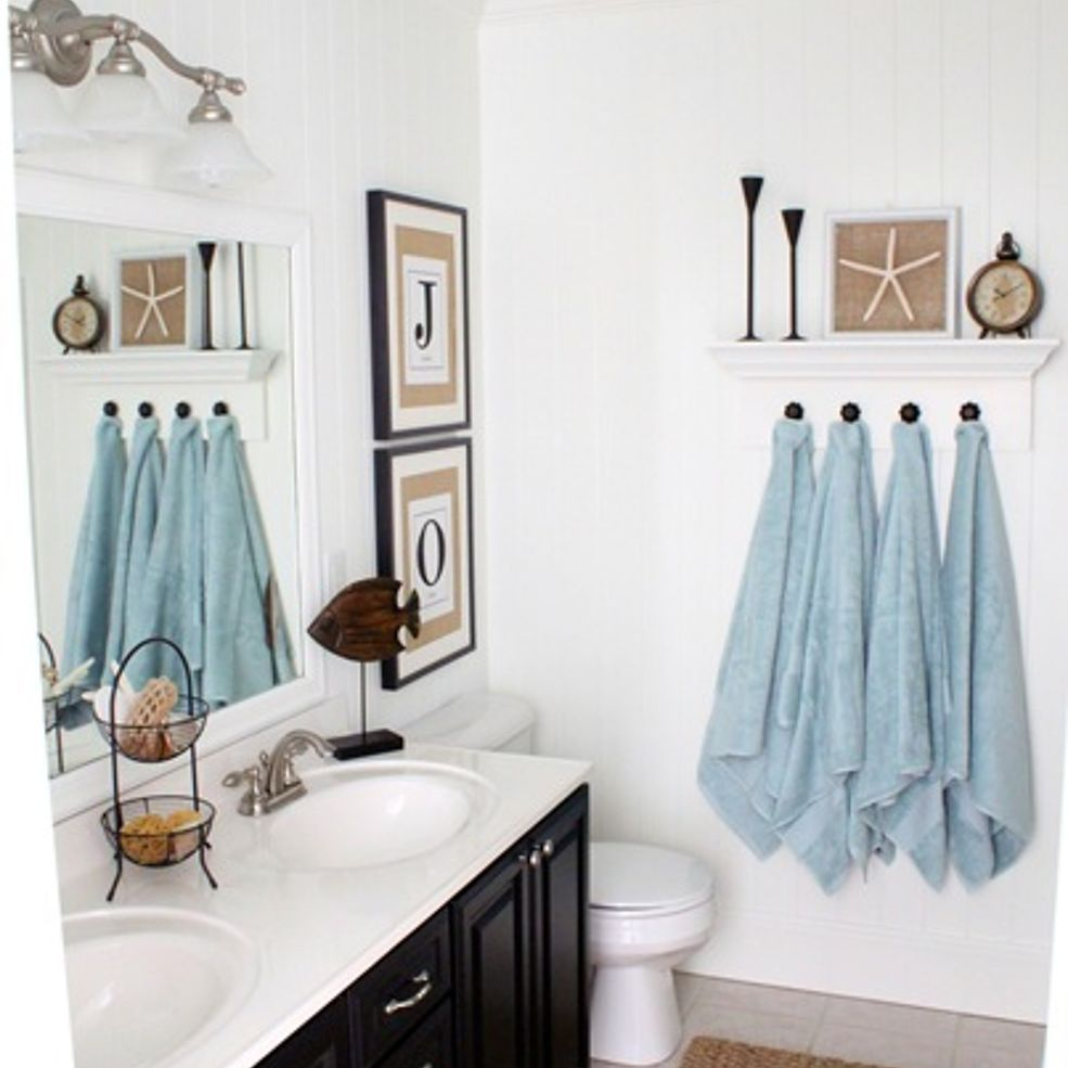 Beach Themed Blue Mason Jar Qtip Holder Mermaid Bathroom Decor