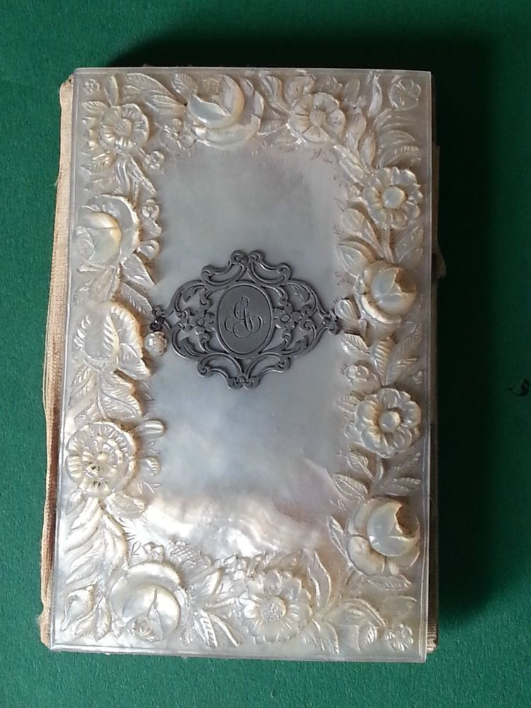AN ABSOLUTELY FABULOUS MOTHER OF PEARL CARD CASE CARVED WITH ROSES AND FLOWERS.