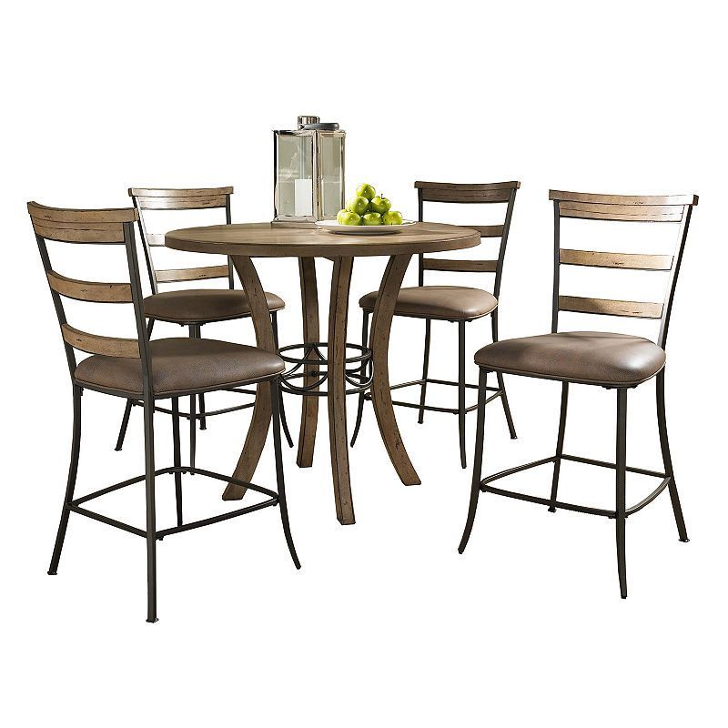 Hillsdale Furniture Charleston Ladder-Back 5-pc. Counter-Height Dining Set, Brown