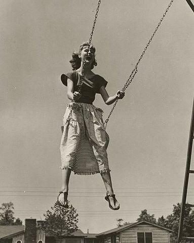 woman on a swing 1940's