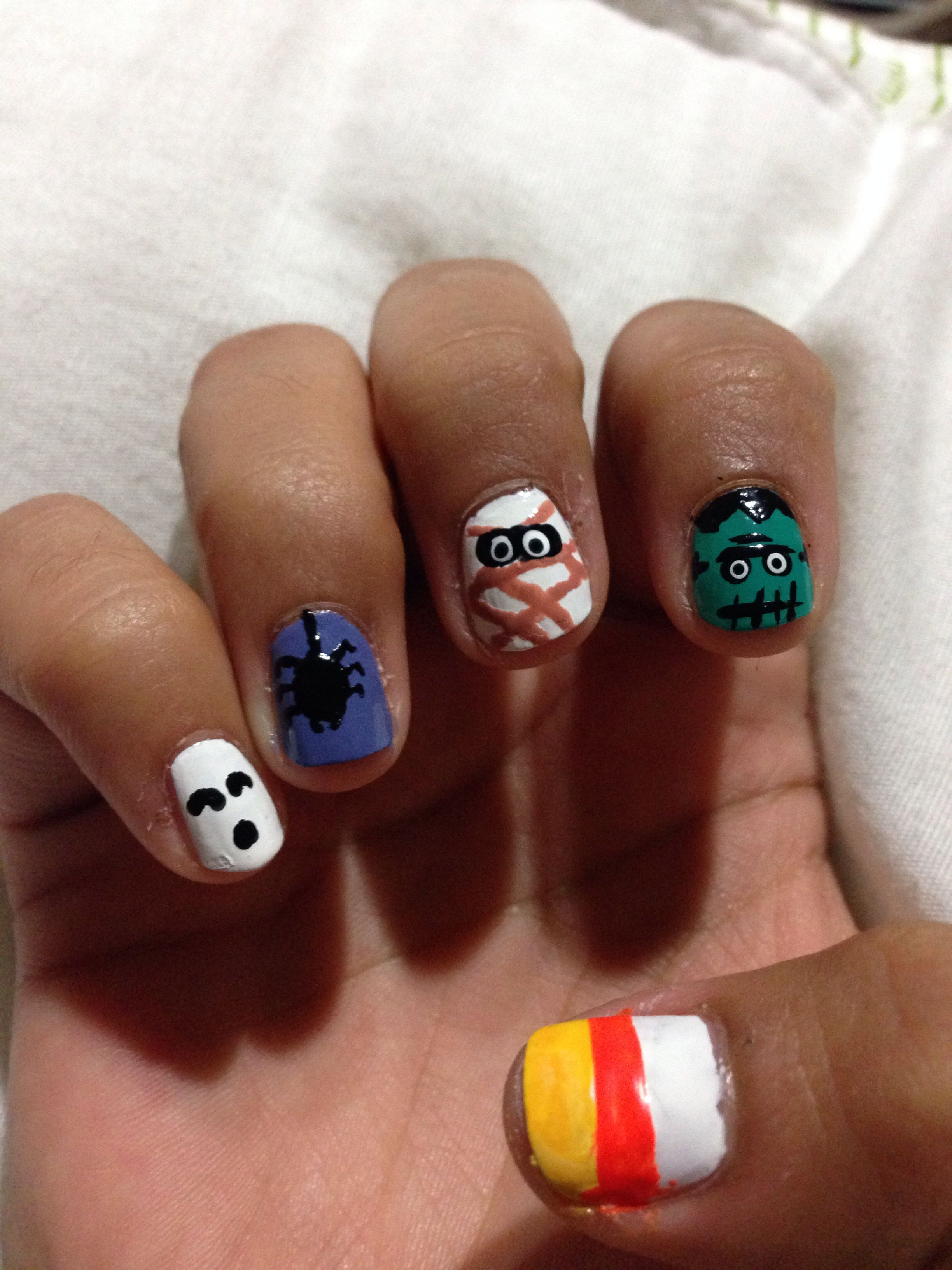 My Halloween nails 2013 #nailart #halloween #nails #art #pumpkin #spider #vampire #frankenstein #mummy #eyeball #ghost #candycorn #drippingblood