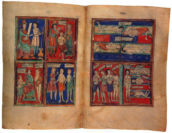 An opening from an English manuscript on medical and herbal lore, late 12th Century, depicting a series of medical miniatures including a guide to cautery points.