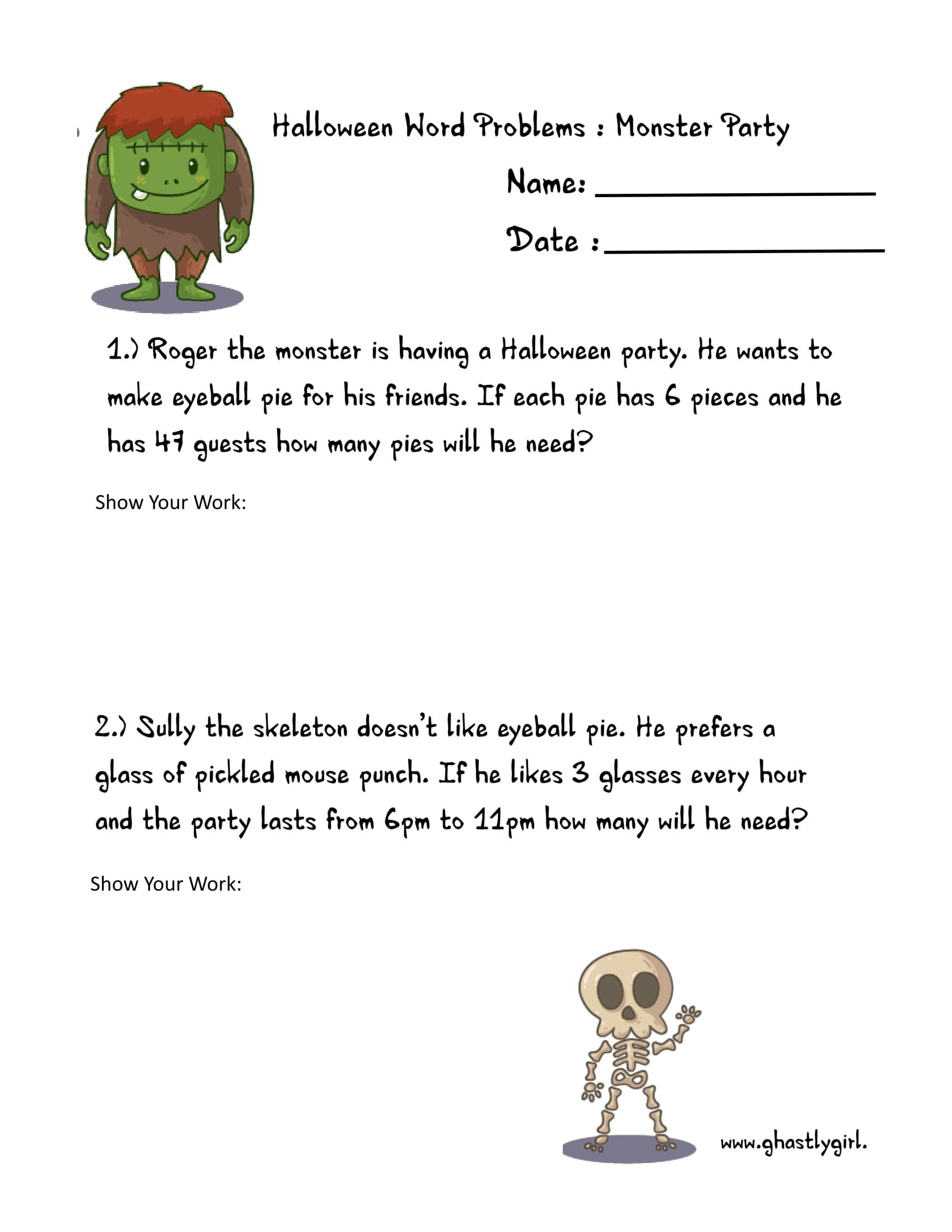 Free Math Printables Halloween Word Problems