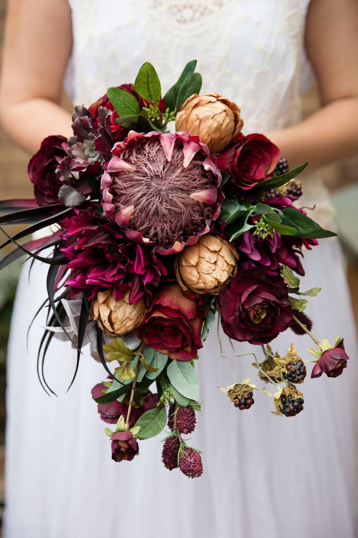 Burgundy Bridal Bouquet Wedding flower decorations