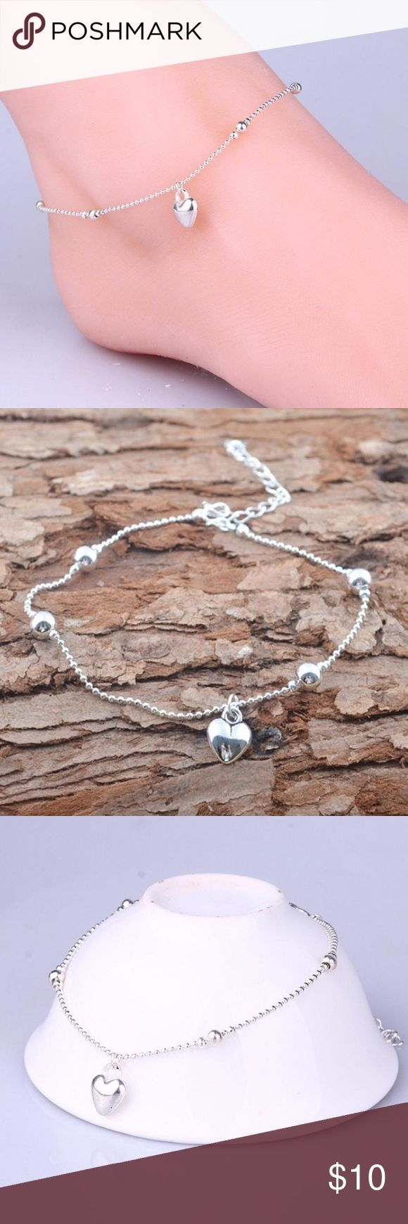 88931f93c2e218 Silver Dainty Heart Ankle Bracelet Silver Tone Dainty Heart Ankle Bracelet.  SAVE 10% when you Bundle 2 or more items & pay only ONE shipping fee!