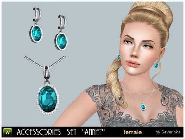 annet gem necklace and earrings set by severinka. Black Bedroom Furniture Sets. Home Design Ideas