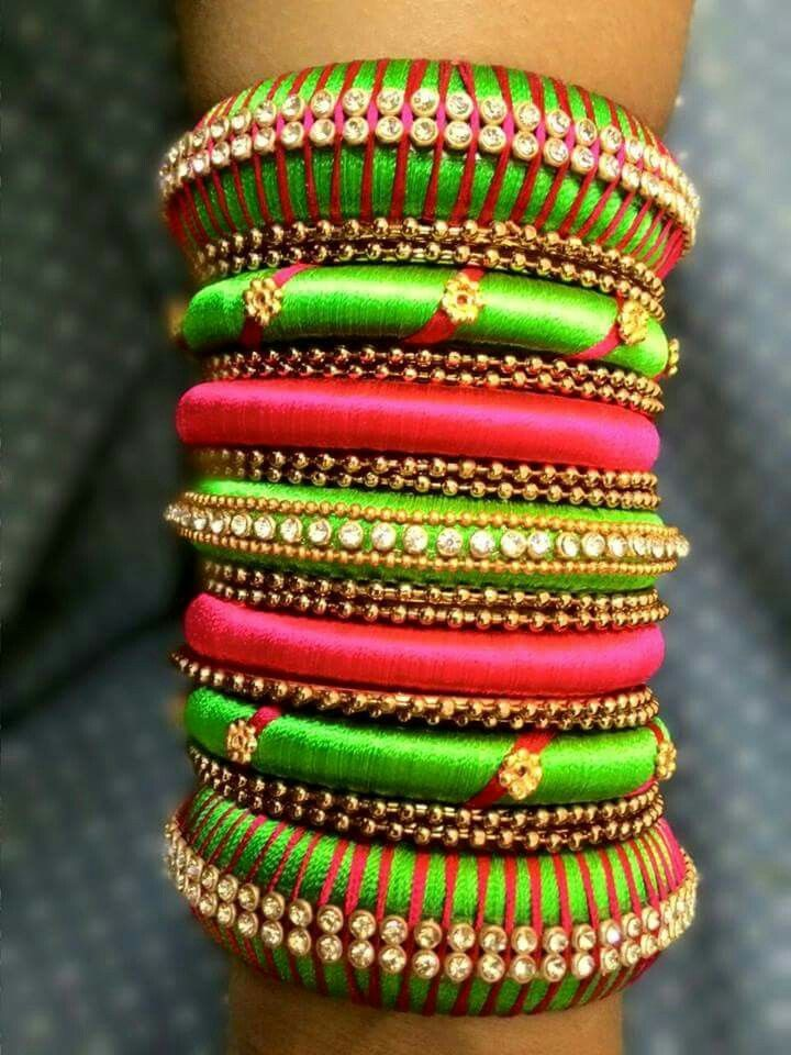 Silk thread Bangles #Indian #Jewellery | Indian bridal accessories ...