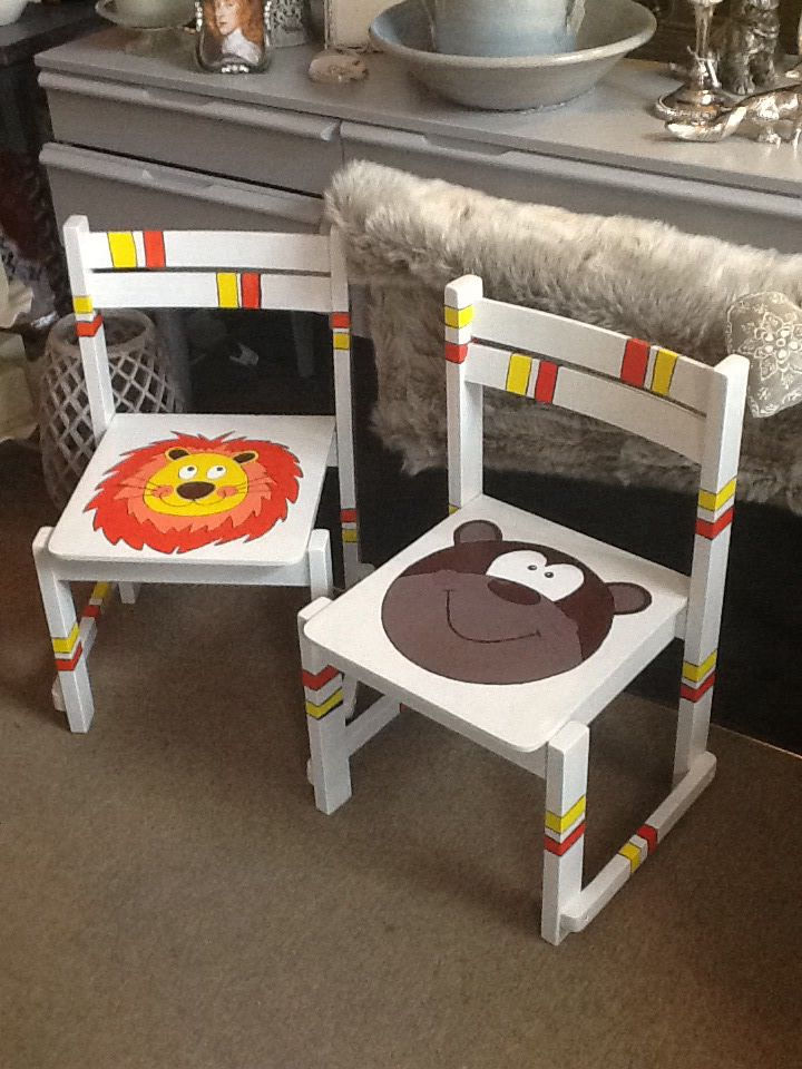 Children's chairs. Love these hand painted pieces. £35 each. www.timelesshomesandgifts.co.uk