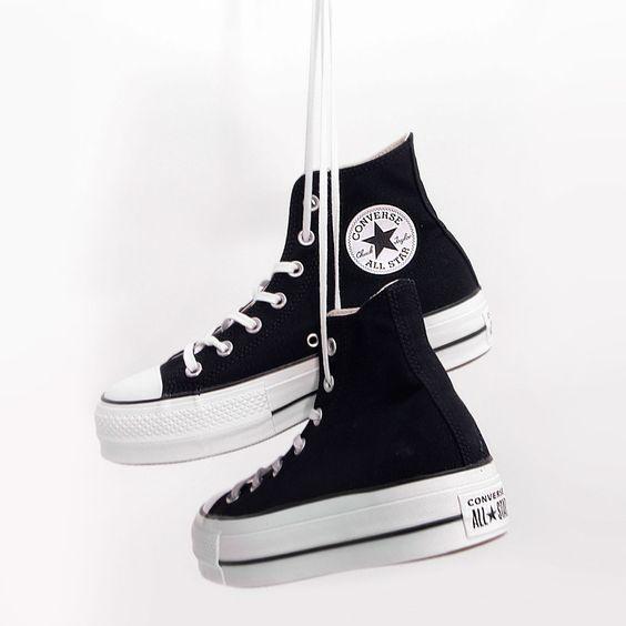 ilegal Enciclopedia en caso  Converse #plataform #plataforma #negras #doblesuela | Zapatos converse de  mujer, Zapatos tenis para mujer, Zapatos mujer de moda