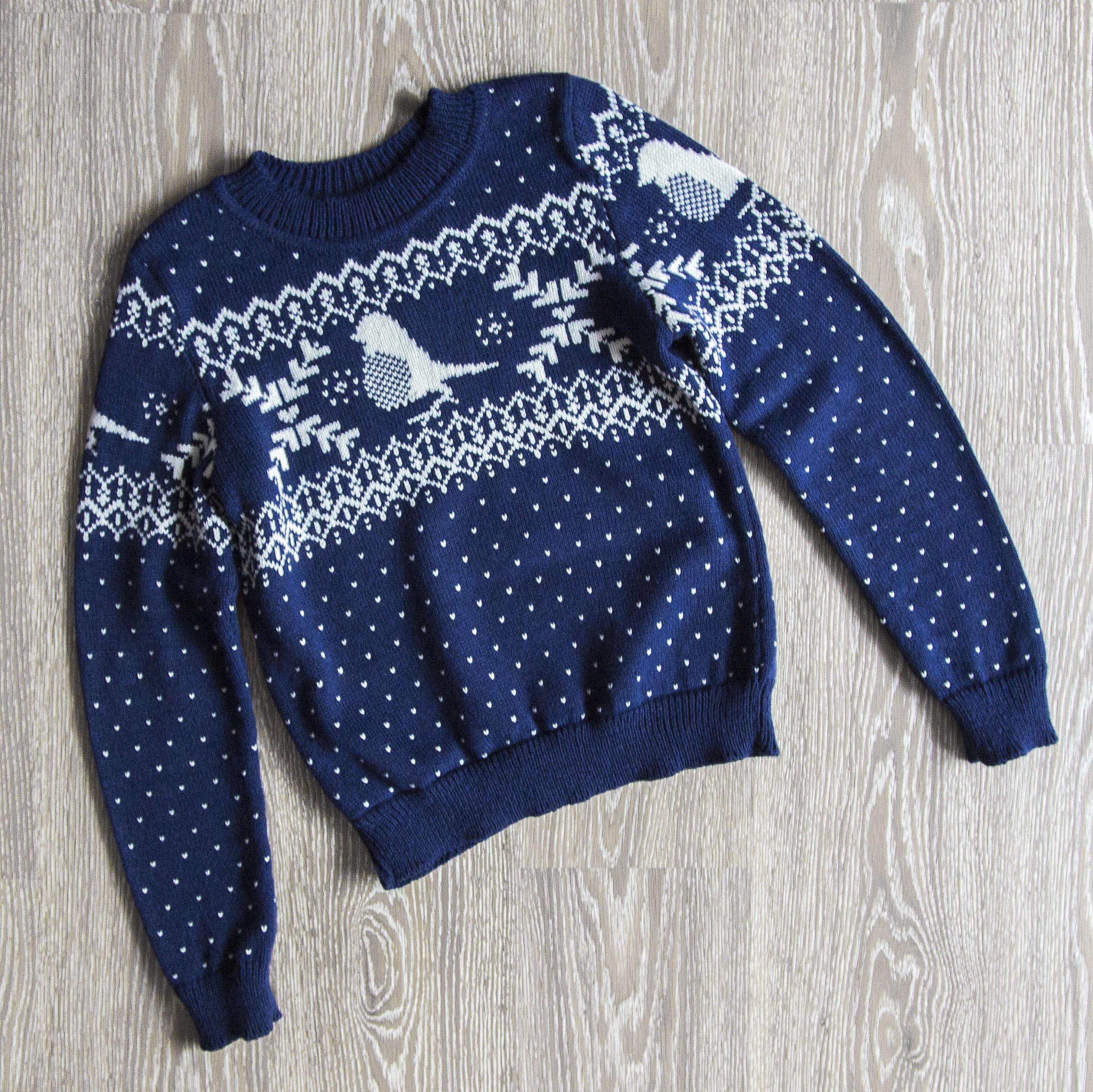 рождественский свитер с норвежским рисунком схема жакардо спицами детский