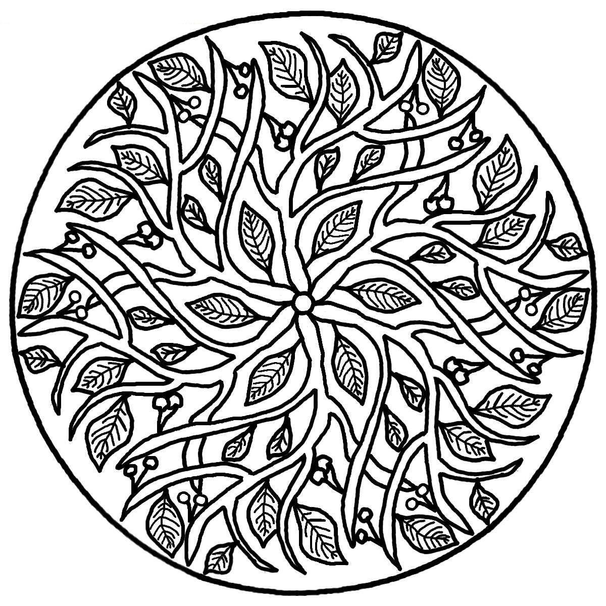 Online colouring in mandala - Realistic Mandala Coloring Page
