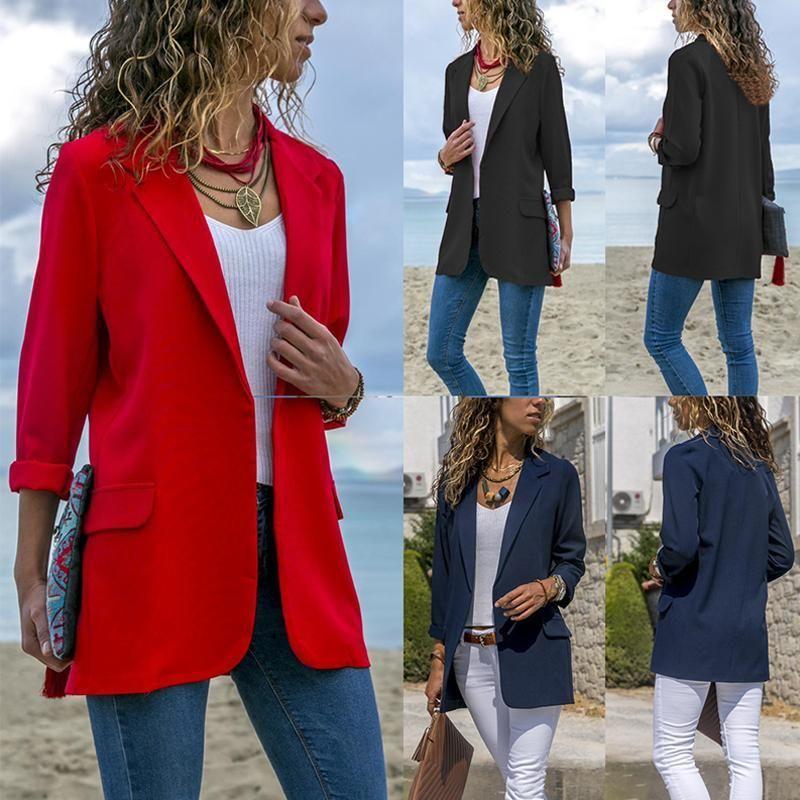 Fashion Lapel Long Sleeve Pocket Blazer Fashion Long Sleeve Blazers Blazer Coat