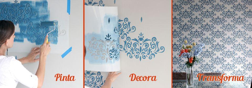 Plantillas decorativas para el dise o de interiores y pintar paredes como papel tapiz y vinilos - Plantillas decorativas para pintar paredes ...