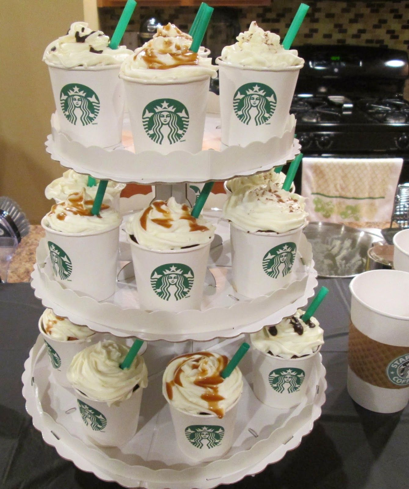 DIY cupcake frappuccinos for starbucks birthday party in