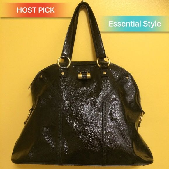 88b2eb5233c0 HP YSL Oversized Muse Patent Leather Tote bag trades Oversized bowler tote-style  bag. Glossy black crinkle patent leather Gold-tone metal accents   hardware  ...
