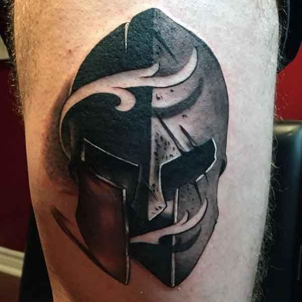 Small Simple Spartan Warriors Tattoos Men