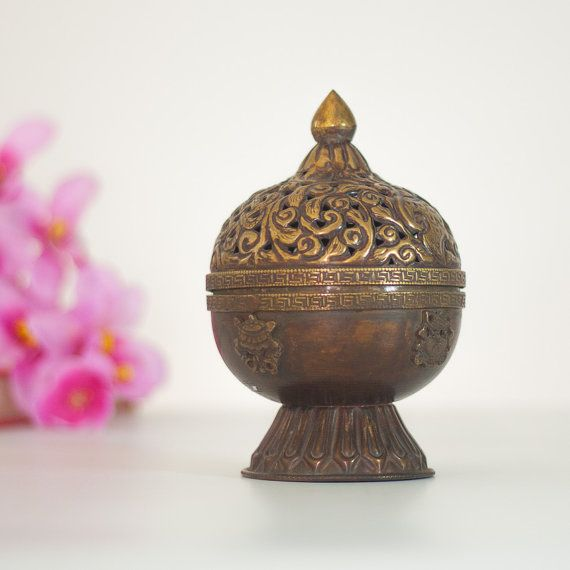 Brass Incense Burner / Lantern, Vintage Indian Lamp ...